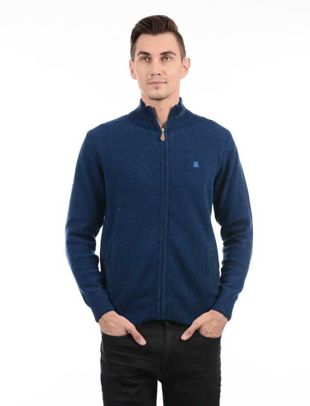 Monte Carlo Men Zipper Solid Cardigan