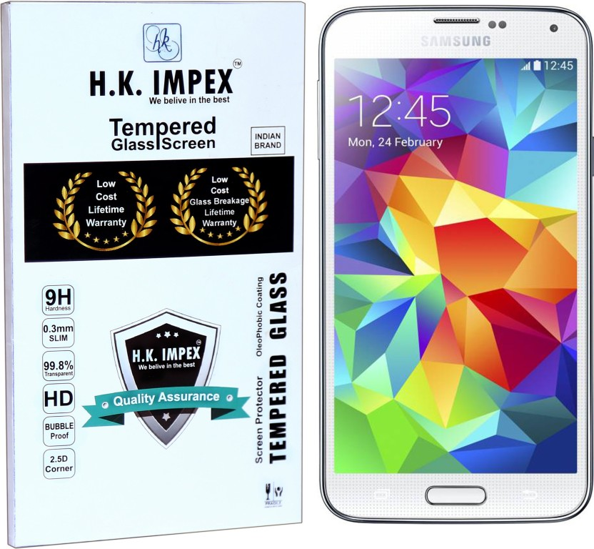 H.K.Impex Tempered Glass Guard for Samsung Galaxy S5,samsung galaxy s5 tempered glass in mobile screen guard (full body cover glass)