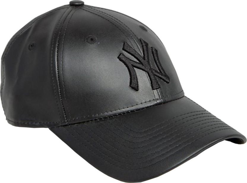 Sapiens Solid NY CAP black leather, Baseball Cap