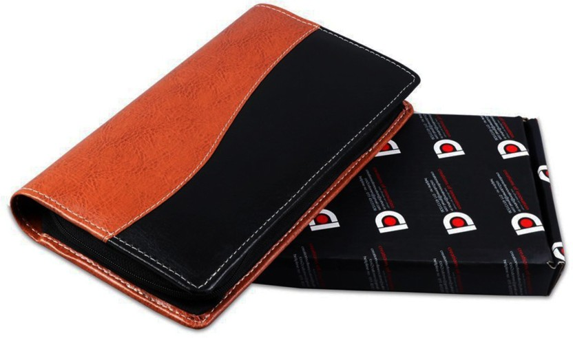 COI Expendable Leatherette Black And Brown Cheque Book Holder/Document Holder