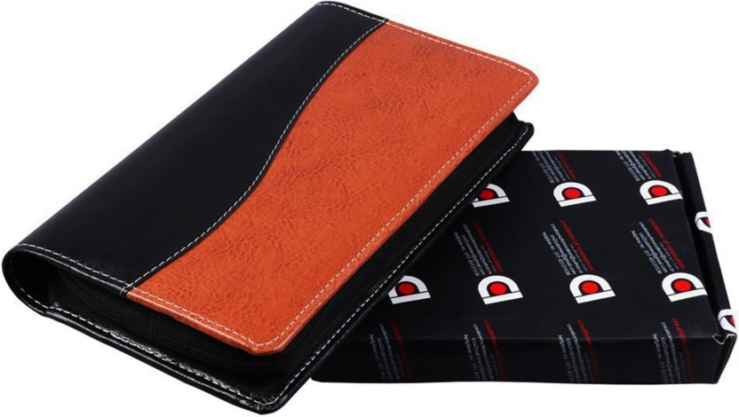 COI Expendable Leatherette Brown And Black Cheque Book Holder/Document Holder