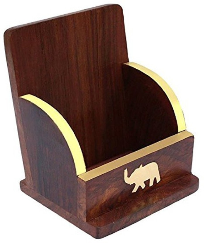 WoodCart 1 Compartments Wooden H@ndmade Holder for Mobile With Brass Elephant Inlaid Design Mobile Holder