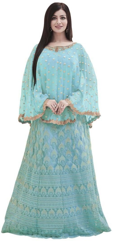 Saara Nylon Net Embroidered, Embellished Semi-stitched Salwar Suit Material