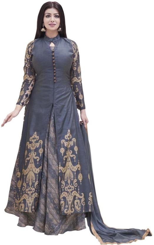 Saara Chanderi Embroidered, Embellished Semi-stitched Salwar Suit Dupatta Material