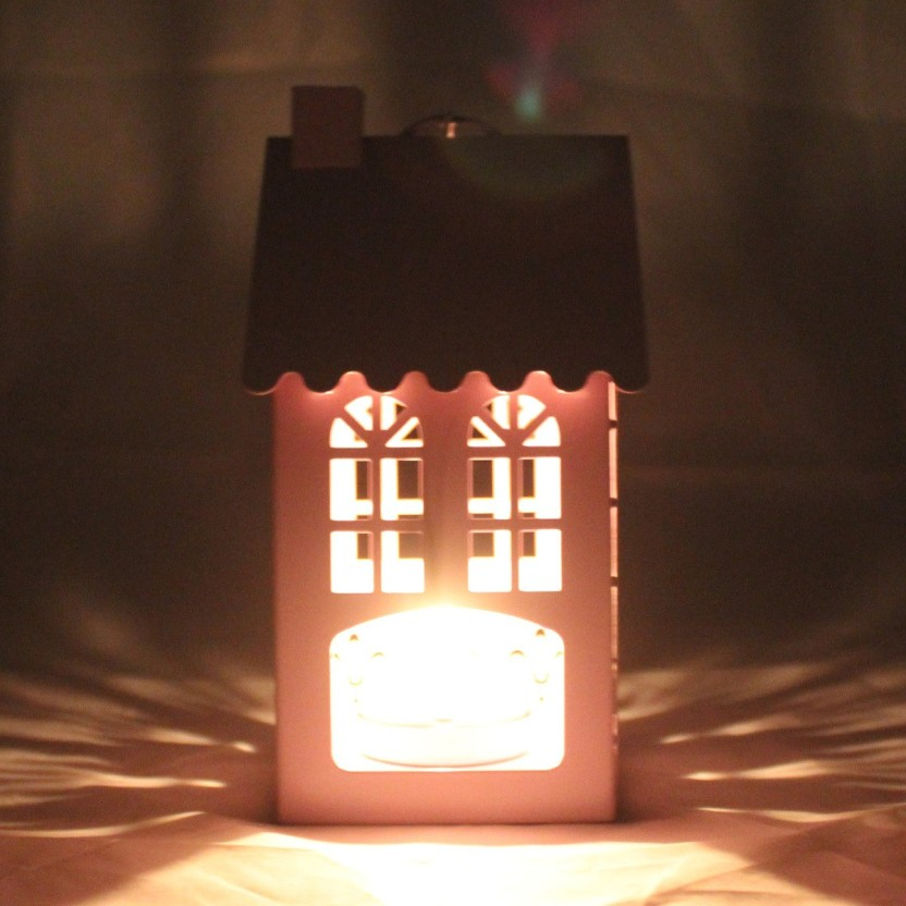 Tootpado Gifts & Decor Hut House Shape Candle Holder Hanging Lantern - Red (DECd089) Steel Candle Holder