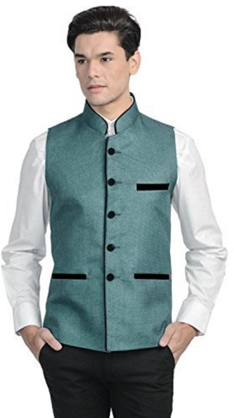 Vastraa Fusion Sleeveless Solid Men Jacket