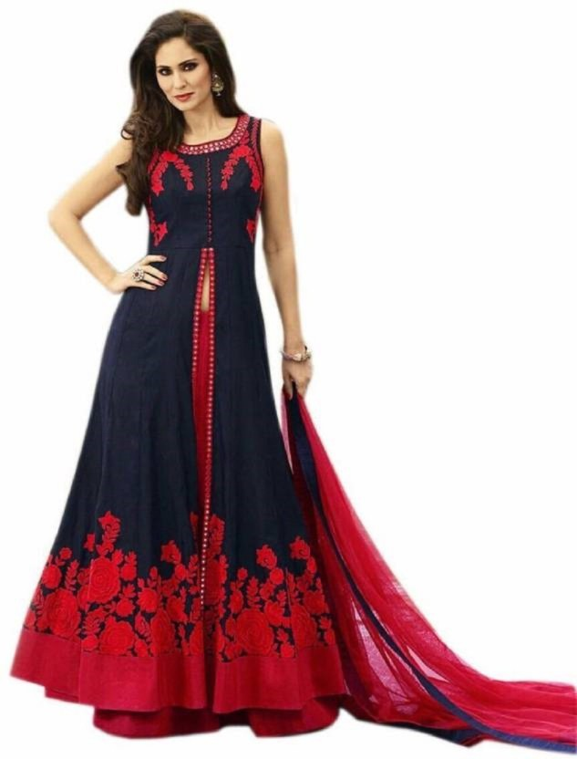 SagarFab Art Silk Embroidered Semi-stitched Salwar Suit Dupatta Material