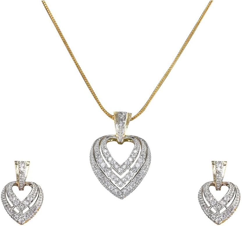 khushiyan Khushiyan Fashion Jewellery AD, American Diamond Zircon Heart Pendant Set For Girls 18K Rose Gold Stone Pendant Set