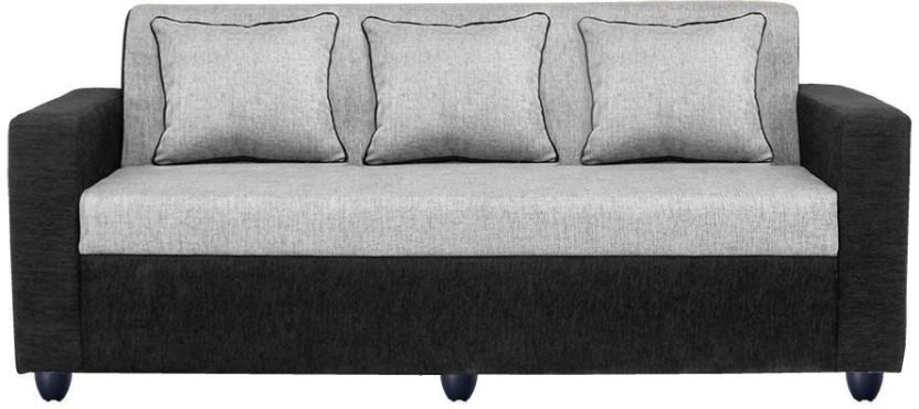 Status Fabric 3 + 3 Grey and black Sofa Set