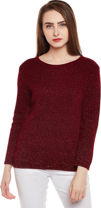 Park Avenue Solid Round Neck Casual Women Maroon Sweater