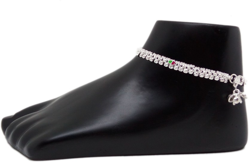 Jewelszone Elegant Designer Anklets Set Sterling Silver, Alloy, Silver, Metal Anklet