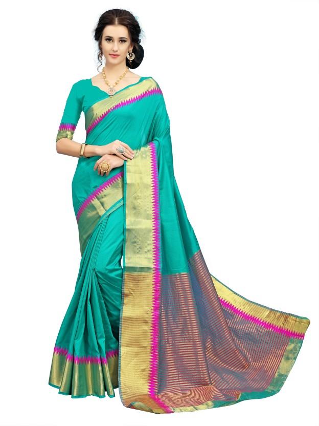 Sanku Fashion Woven Kanjivaram Art Silk, Cotton Silk Saree