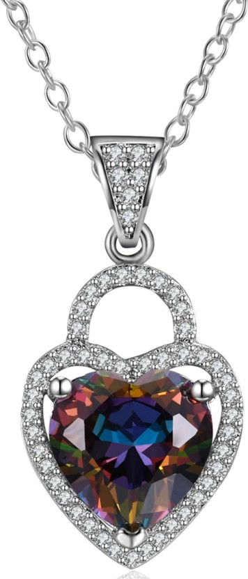 Yellow Chimes A5 Grade Crystal Love Lock Silver Plated Heart Pendant Rhodium Alloy Pendant