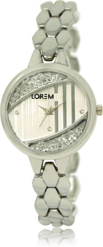LOREM LR227 Silver Metal Bracelet Silver Diamond Metal Bracelet Watch  - For Women
