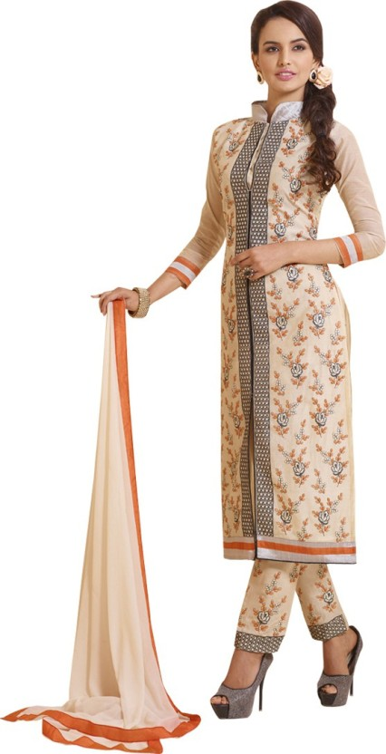 FASHION CARE Chanderi Cotton Embroidered Semi-stitched Salwar Suit Dupatta Material