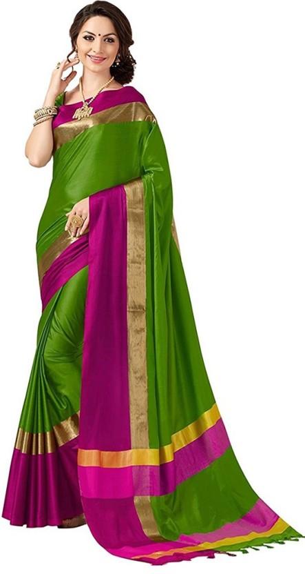 V J Fashion Solid Fashion Cotton Silk Saree