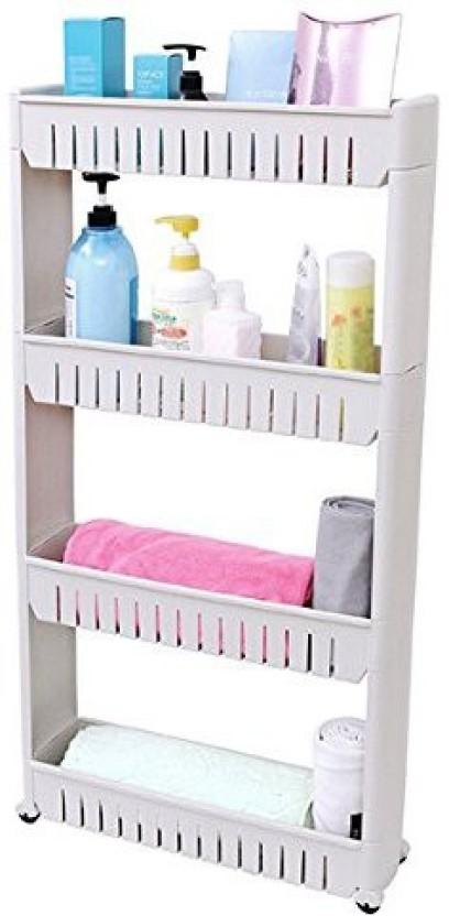 Okayji 4 Tier Multipurpose Shelf with Removable Wheels Plastic Kitchen Rack
