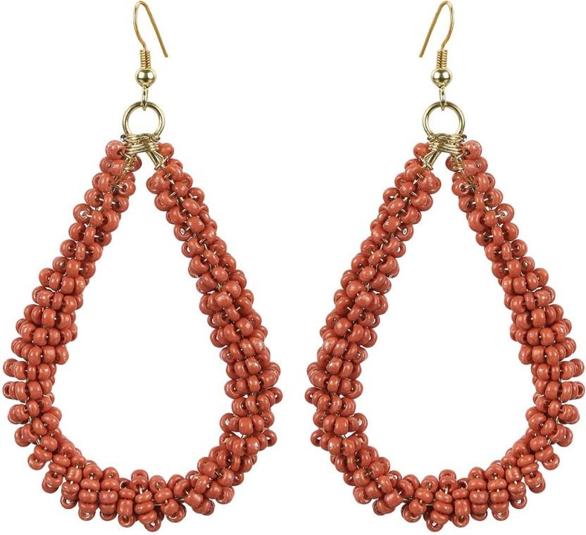 The Indian Handicraft Store Tear drop Gold Beads Earring Alloy Drop Earring