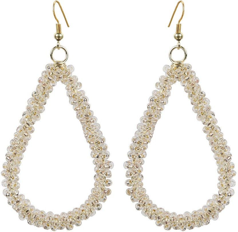 The Indian Handicraft Store Tear drop Silver Beads Earring Alloy Drop Earring