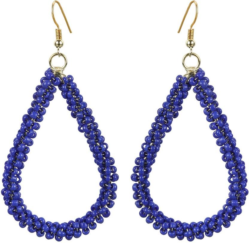 The Indian Handicraft Store Tear drop Blue Beads Earring Alloy Drop Earring