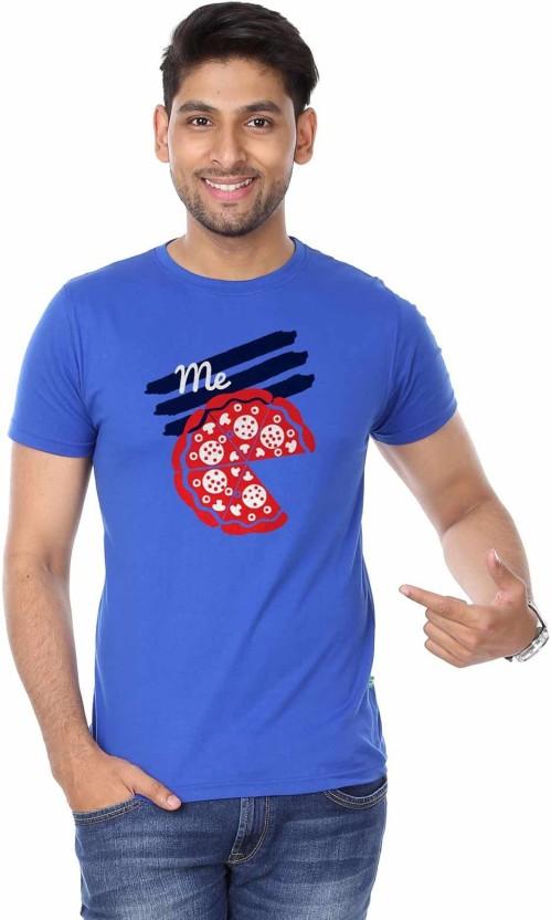 BonOrganik Printed Men Round Neck Blue T-Shirt
