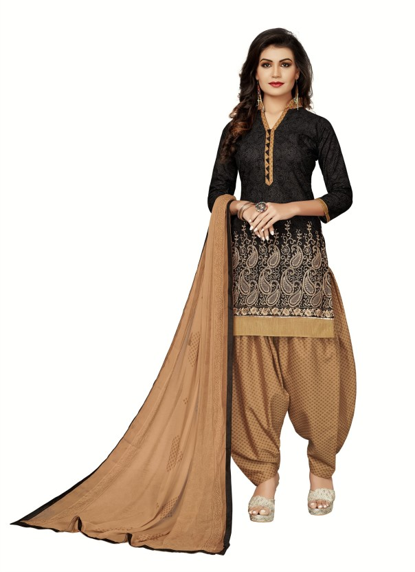 Fashion Ritmo Cotton Printed, Embroidered Semi-stitched Salwar Suit Dupatta Material