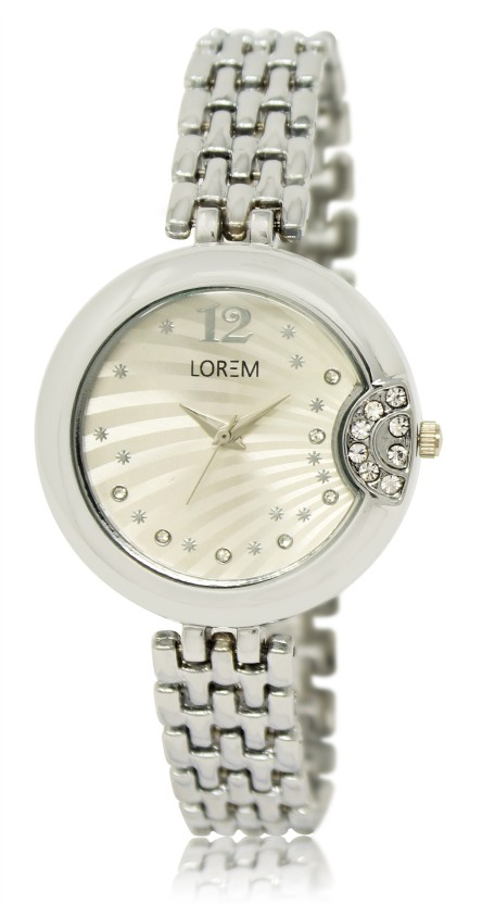 LOREM LR223 Silver Diamond Metal Bracelet Watch  - For Women