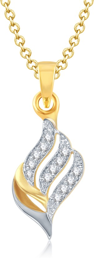 VK Jewels Well Crafted Gold and Rhodium Plated 18K Yellow Gold Alloy Pendant