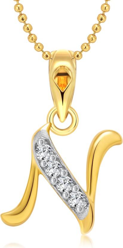 "Vighnaharta \""N\"" Letter 18K Yellow Gold Cubic Zirconia Alloy Pendant"
