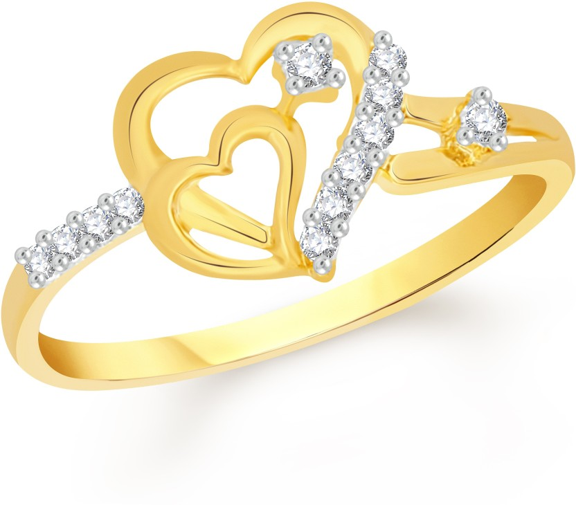 VK Jewels Couple Heart Alloy Cubic Zirconia 18K Yellow Gold Plated Ring