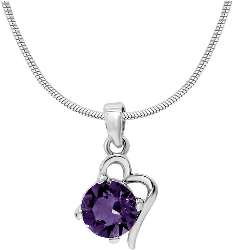 Mahi Violet Victorian Heart Rhodium Swarovski Crystal Alloy Pendant