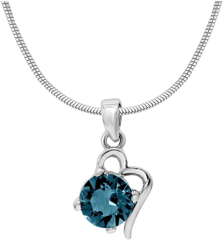 WearYourFashion Heart Shaped Platinum Swarovski Crystal Alloy Pendant