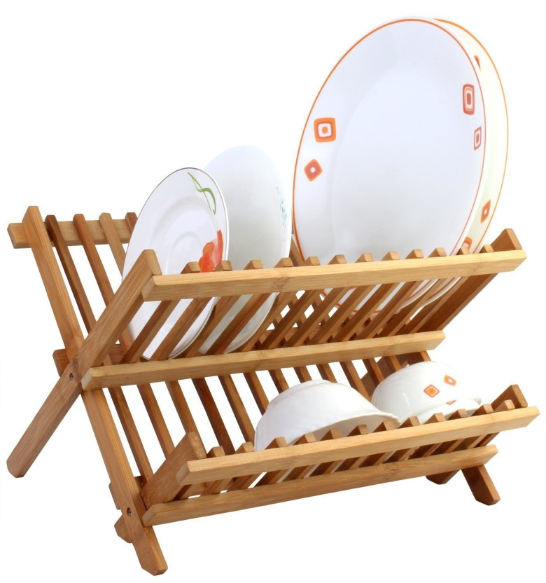 7Trees Folding 2-Tier Dish Drying Bamboo Kitchen Rack