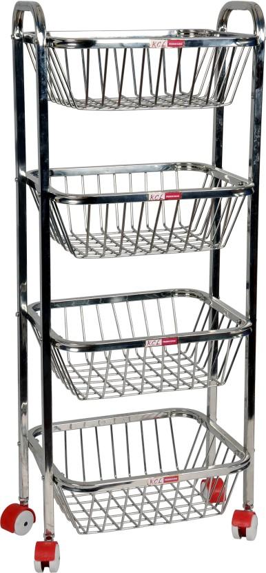 KCL 4 Step Fruit & Vegetable Trolley Stainless Steel Kitchen Rack