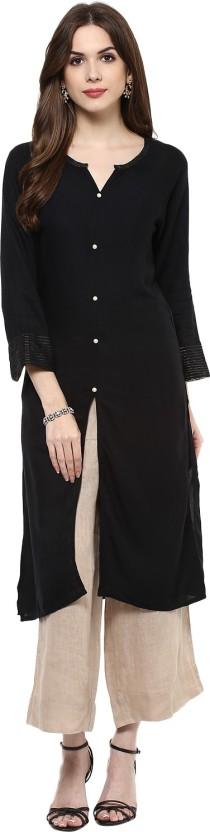 Qalamkari Casual Solid, Self Design Women