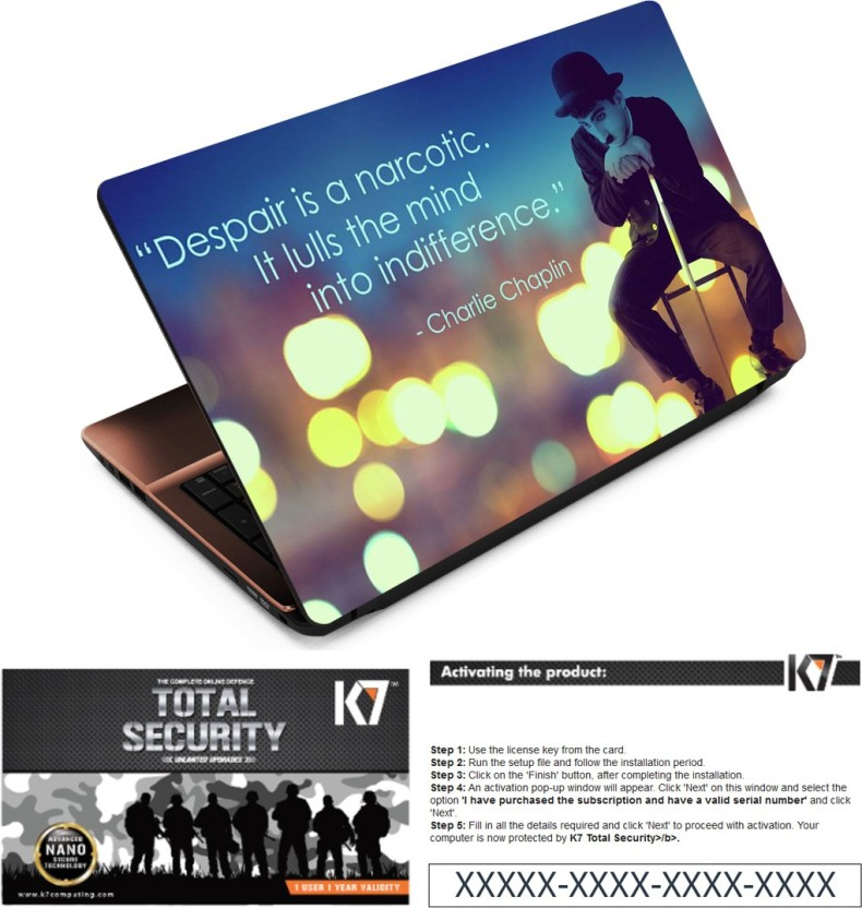 FineArts Despair Laptop Skin With K7 Total Security 1 Year 1 Pc Activation Key Only Combo Set