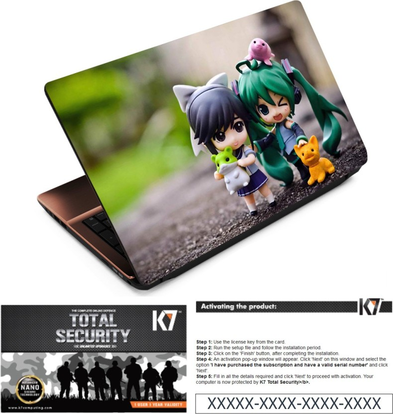 FineArts Animated Boy Girl Laptop Skin With K7 Total Security 1 Year 1 Pc Activation Key Only Combo Set