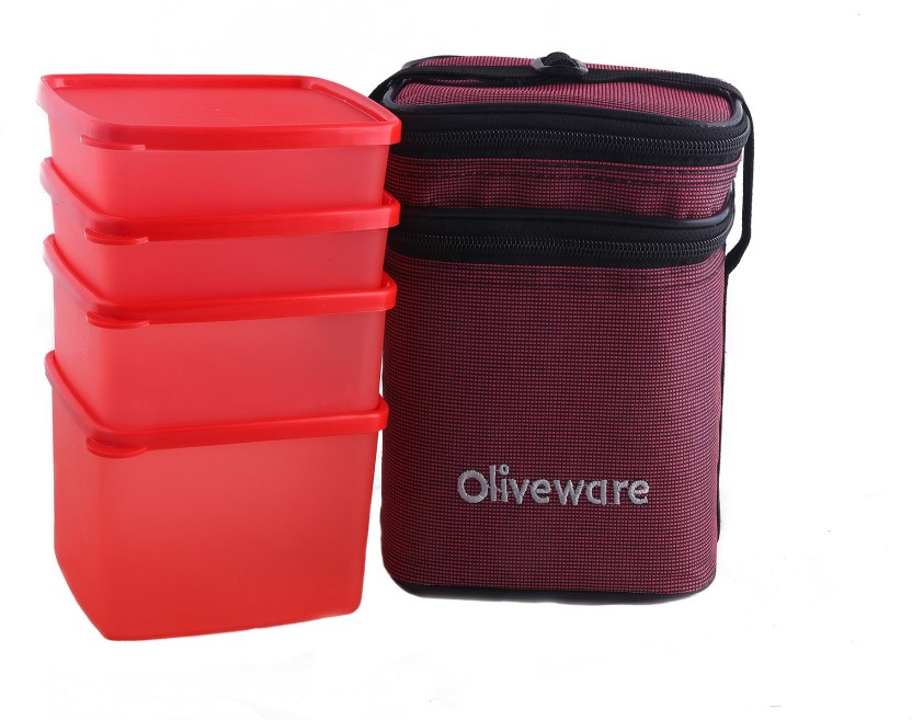 Oliveware LB55Red 4 Containers Lunch Box