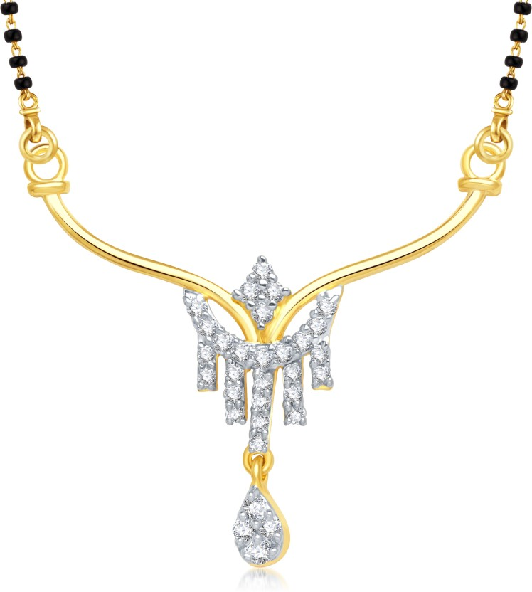 VK Jewels VK Jewels Five Lines Gold and Rhodium plated Mangalsutra Pendant Alloy Mangalsutra