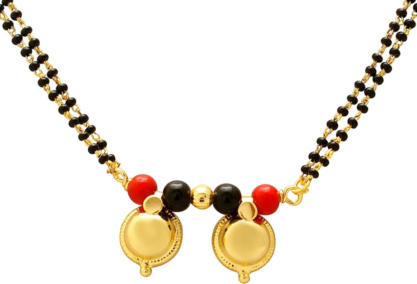 Memoir Gold plated Red and Black bead two wati Tanmaniya Brass Mangalsutra