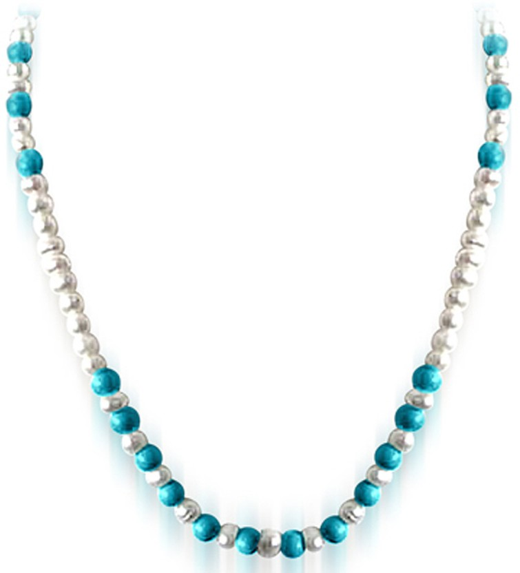 Surat Diamond Beautiful Intoxication Pearl, Turquoise Metal Necklace