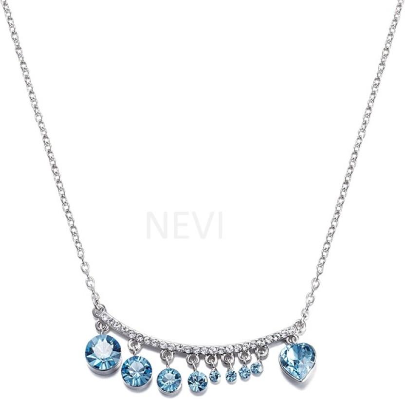 Nevi Heart Swarovski Crystal Rhodium Plated Metal, Crystal, Alloy Necklace