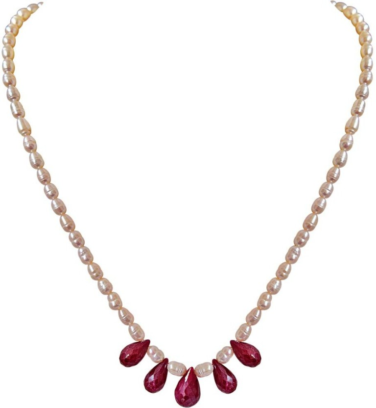 Surat Diamond Red Drop Beauties Ruby Metal Necklace