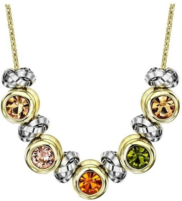 WearYourFashion Multicolor Rings Swarovski Zirconia 14K Yellow Gold Plated Alloy Necklace