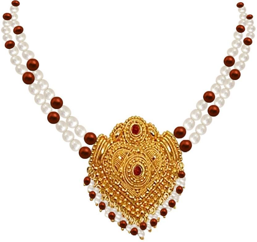 Surat Diamond Ornate Beauty Pearl Metal Necklace