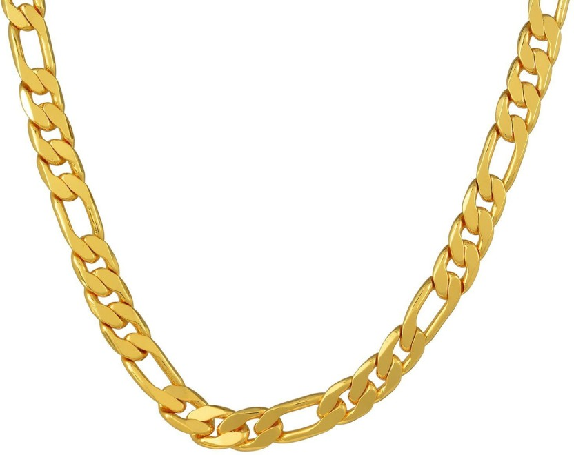 Memoir 24KT Gold Covered 24 Inch/ 67 Gms heavy necklace chain with FREE 10gm (50% silver content) coin, latest jewellery for Men. 24K Yellow Gold Plated Brass Chain
