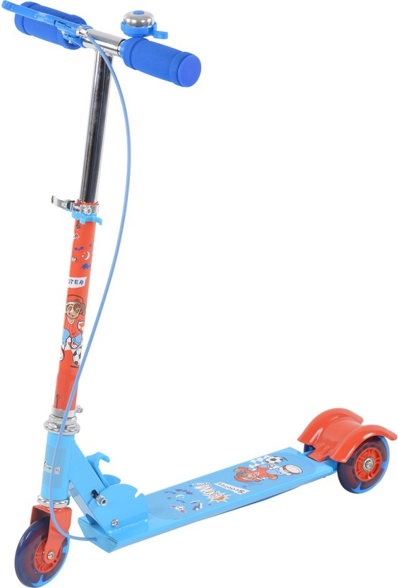 Toy House Three Wheeled Metal Folding Skate Scooter with Disco Wheels, Height Adjustable Handlebar, Handlebar Bell and Hand Brake