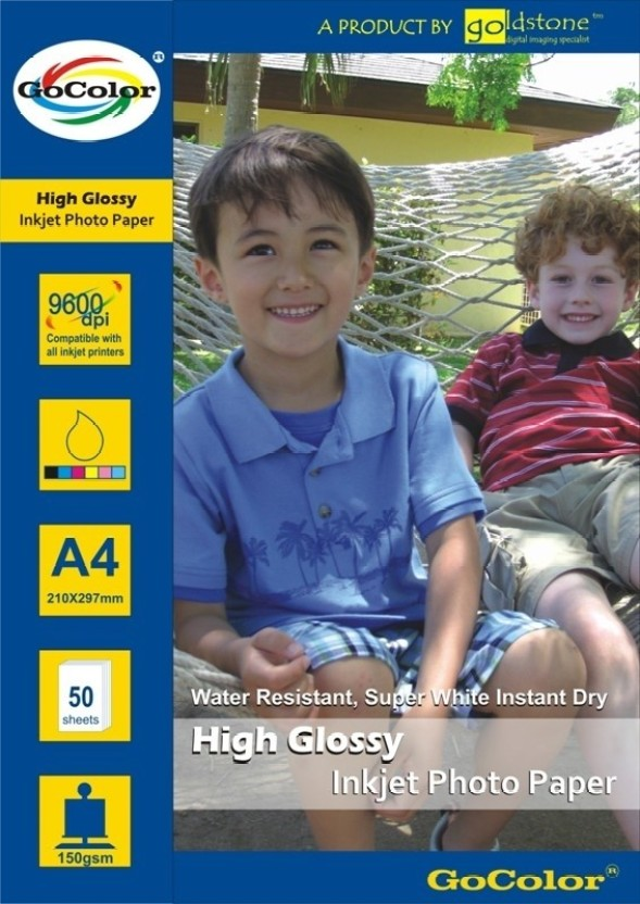 Gocolor High Glossy 165 GSM - 50 Sheets Inkjet Photo Paper Unruled A4 Photo Paper