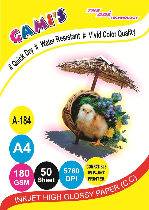 DDS DDS High Glossy Inkjet Photo Paper 180 Gsm A4 50 Sheets PACK (20PKT.1000 SHEET) CARTON UNRULED A/4 Photo Paper