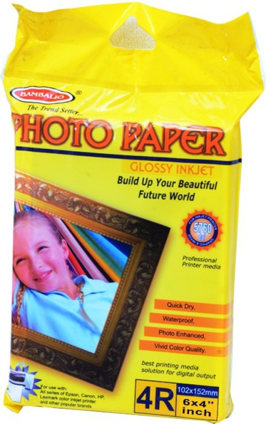"BAMBALIO 270 GSM 100 Sheets Post Card Size glossy Unruled 4""x6\"" Photo Paper"